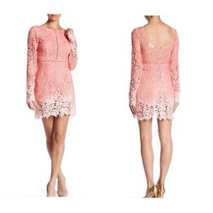 L'Atiste Crochet Lace Long Sleeve Ombre Dress